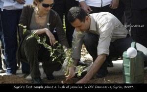 Asmaa & Bashar Al Assad Plantan un Jazmín   en Damasco, en el Antiguo Damasco, 2007