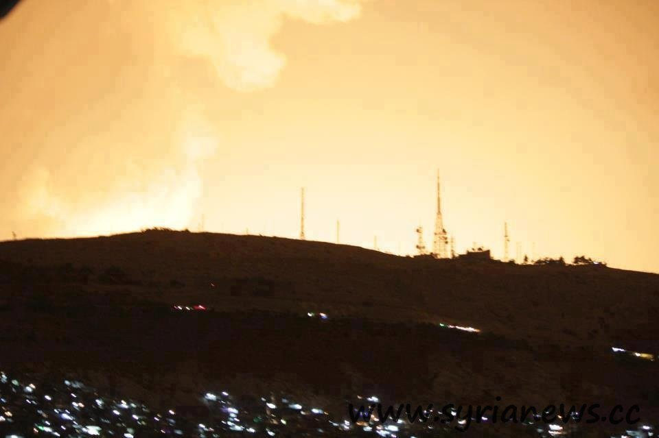 Israeli raid against targets in Damascus countryside turned the city's night into a day for moments