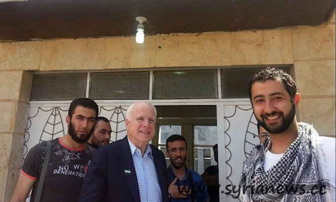 US Mad Senator John McCain with his friends from Al-Qaeda in Syria