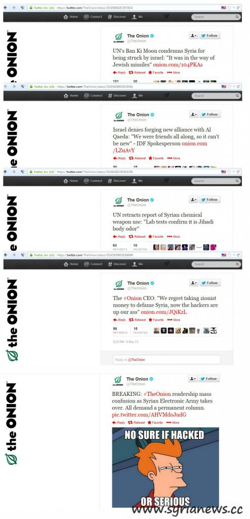 Part of the tweets SEA posted on The Onion account