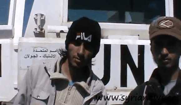 Terrorist from Alqaeda poses before camera after kidnapping a UNDOF crew