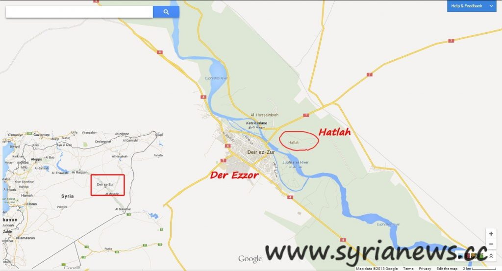 Over 60 civilians killed by FSA in Hatlah town, Der Ezzor, Syria