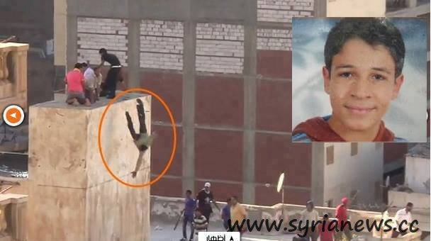 Syrian person thrown from the rooftop of a government building by Islamists in Alexandria, Egypt.