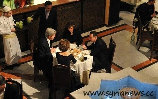 The Liar John Kerry at dinner with Bashar al-Assad