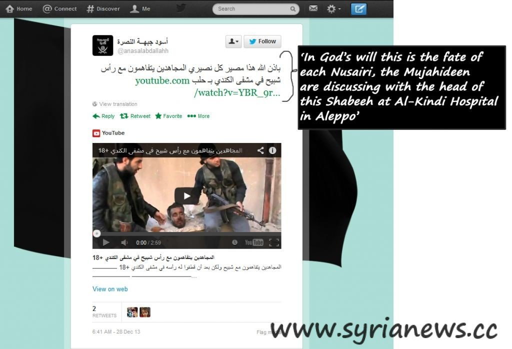 Twitter Account Wahhabis in Syria GRAPHIC