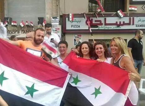 syrians celebrating liberation of bani zaid and al liramon, july 2016