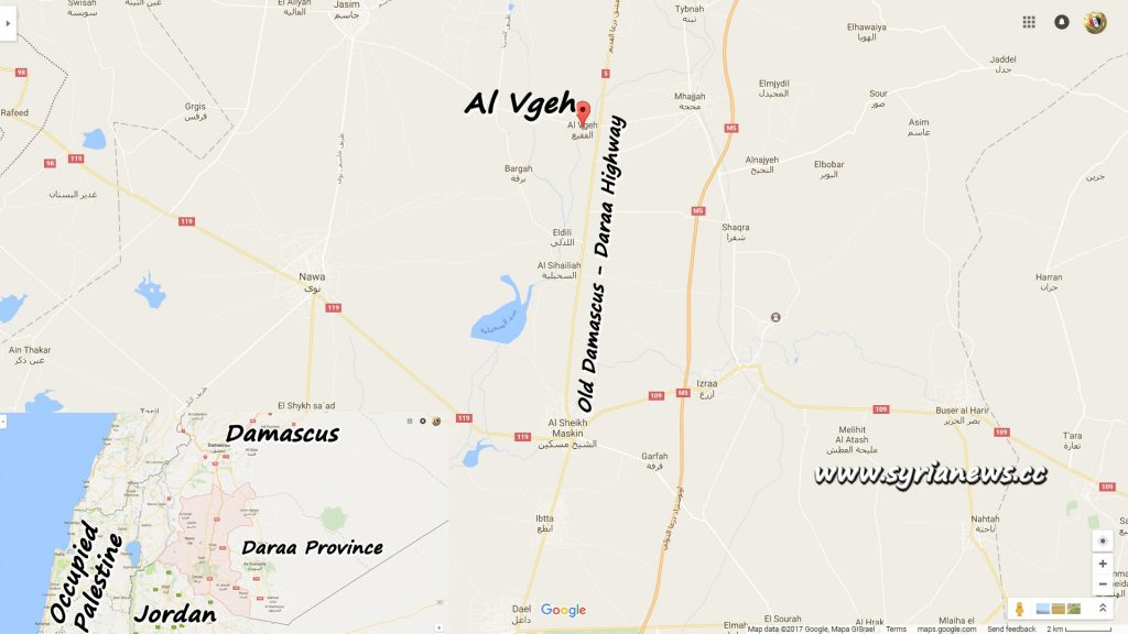 image-Al Vgeh Map - Daraa Northern Countryside near Damascus - Daraa Old Highway