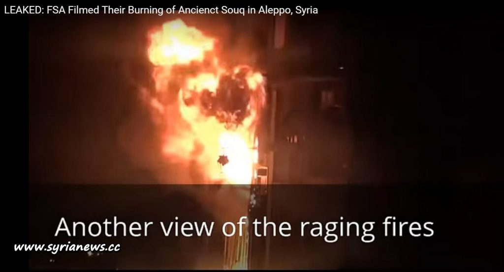 image-FSA Burned Down Ancient Souq in Aleppo