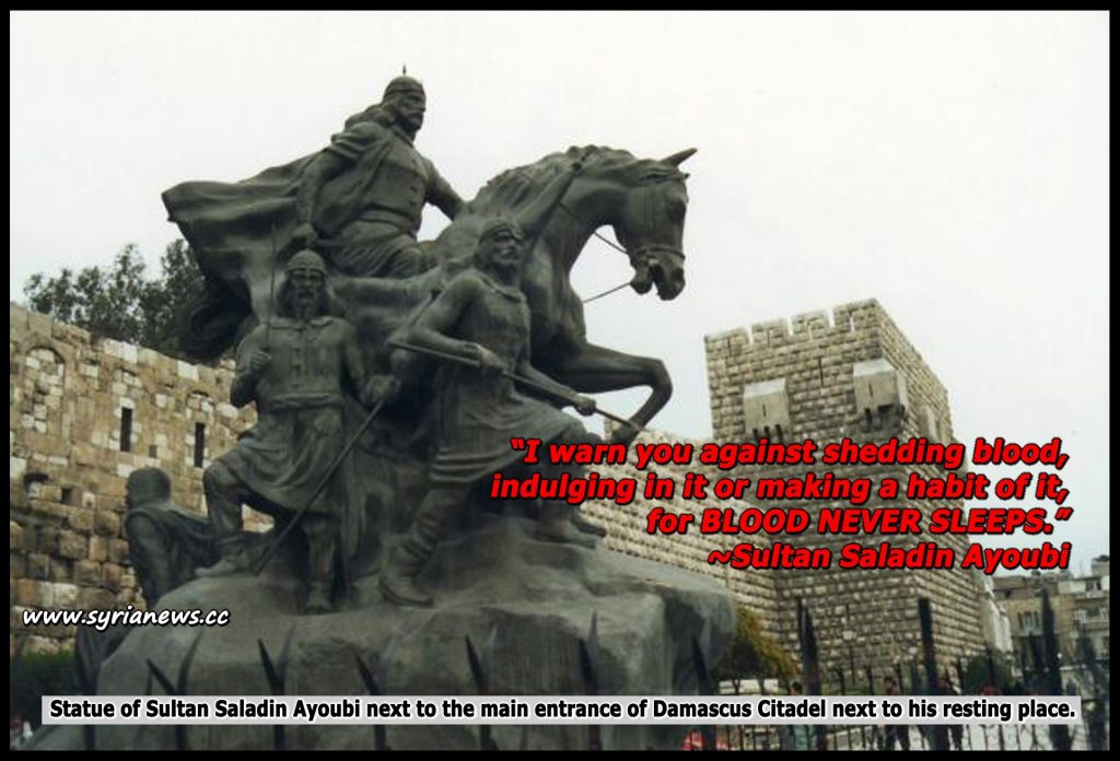 image-Statue of Sultan Saladin Ayoubi next to the main entrance of Damascus Citadel next to his resting place.