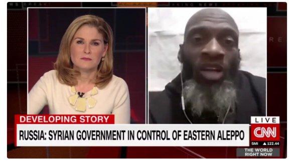 image-Fake news! cnn Hala Goran interviews American illegal alien in Syria, NYer Bilal Kareem