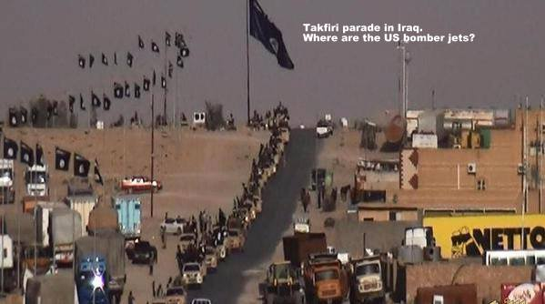 """""""ISIS"""" in their Japanese Toyotas leaving Iraq to Syria. US coalition does not see them."""