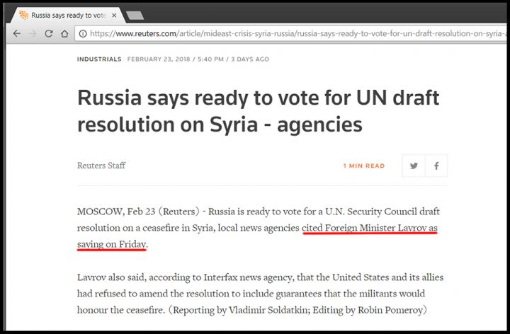 image-Lavrov Ready to Vote in Favor of Resolution to Protect Terrorists in Eastern Ghouta