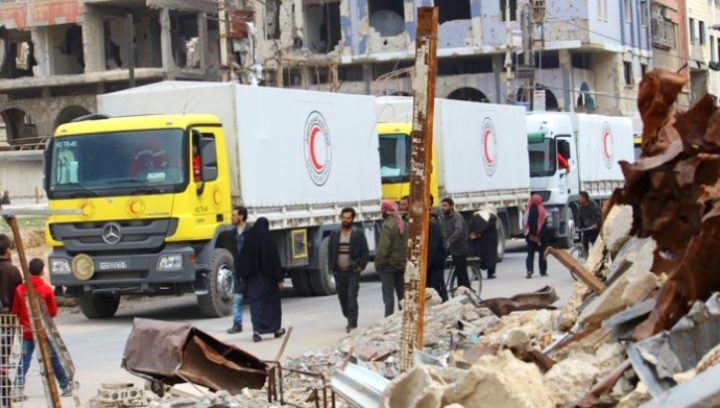 image-Syrian Arab Red Crescent delivers 340 tons of humanitarian aid to Eastern Ghouta.