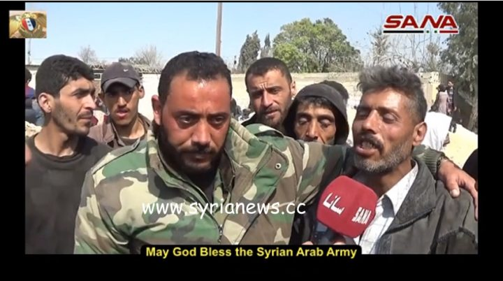 saa soldiers reunite with their freed families in east ghouta