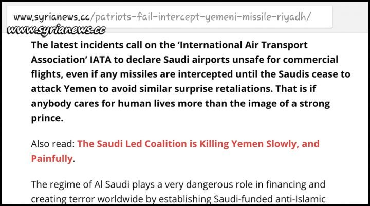 image-Syrianews asks IATA to warn airlines due to missile strikes into Saudi