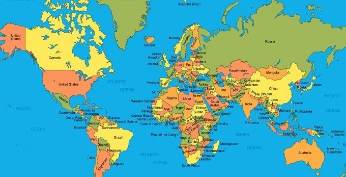 world map clearly shows the location of US