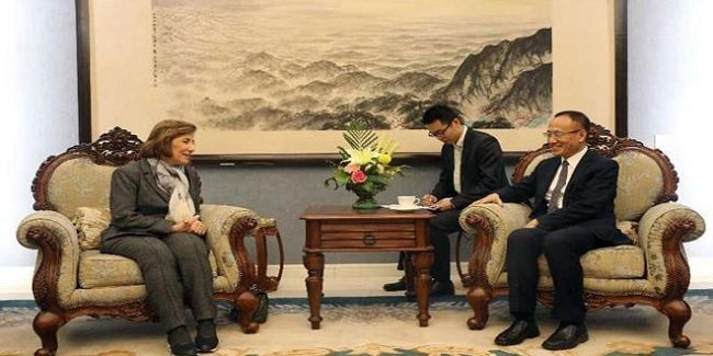 Syrian Presidency Advisor Bouthaina Shaaban meeting China Assistant Minister of Foreign Affairs Chen Xiaodong