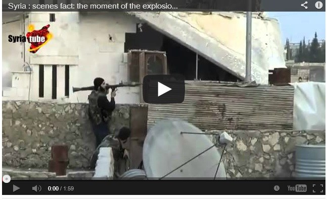 Syria  The Moment of the Explosion of a Shell RPG  one of the Gunmen    Rpg Explosion