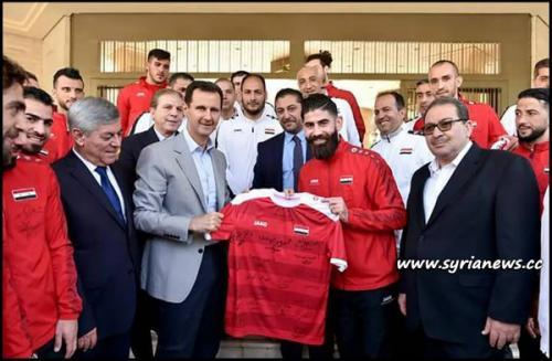 President Bashar al-Assad Receives Syrian National Football Team Qasioun Eagles