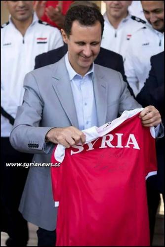 image-President Bashar al-Assad Receives Syrian National Football Team Qasioun Eagles